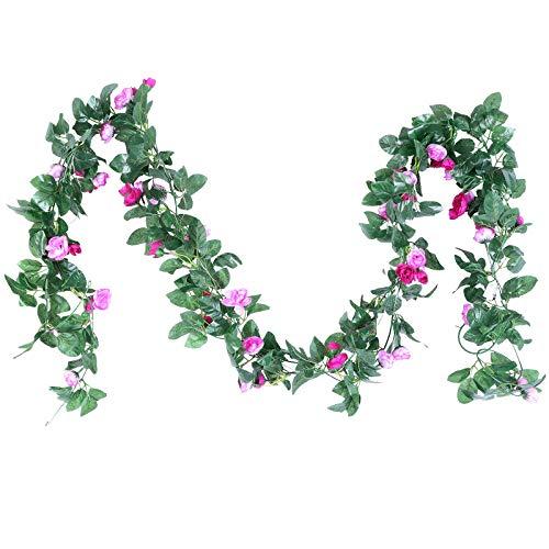 Floralsecret 2 PCS Artificial Flower Garland Fake Rose Vines for Party Arch Backdrop Decorations-Purple
