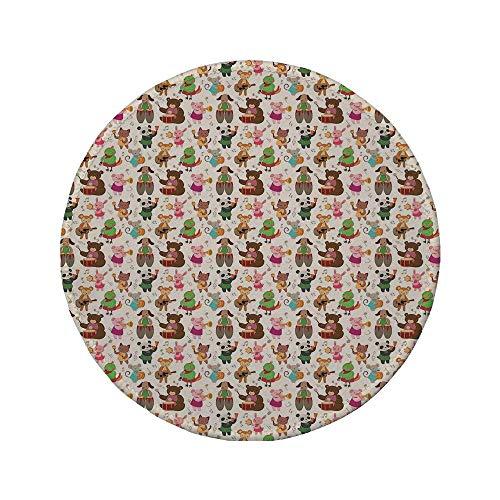 Not Applicable Tapis de Souris Rond en Caoutchouc antidérapant Musique Jouets Jouant dans Une Bande Teddy Bear Drums Kitty Obua Fox Panda Nursery Kids Cartoon décoratif Multicolore 7.9\