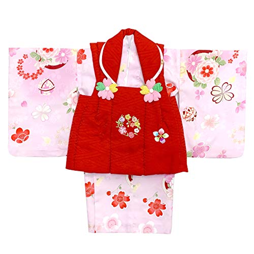 [京都室町st.] 赤ちゃん 着物 初節句 女の子 被布コート 二部式着物 セット(合繊)「赤xピンク、鞠と花」HFG129