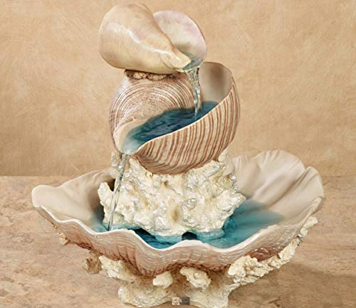 Touch of Class Shell Island Tabletop Water Fountain Lighted LED 13 Inches High Multi