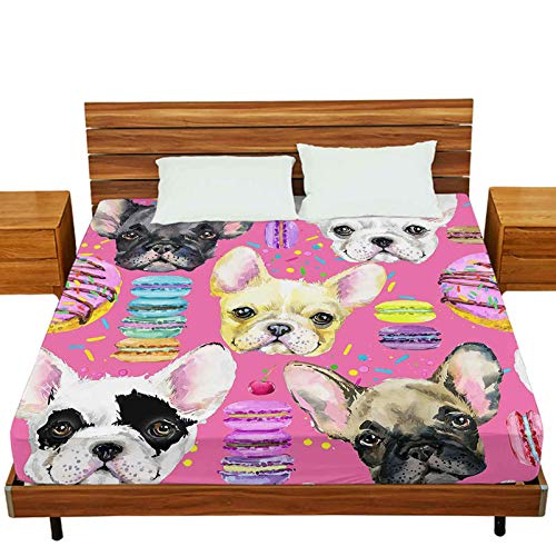Bedding Fitted Sheet Twin-XL Size, Cute Dog Seamless Pattern French Bulldog Puppy Watercolor Illustration Fashion Print Sweet, Wrinkle Free&Stay in Place Fitted Sheet