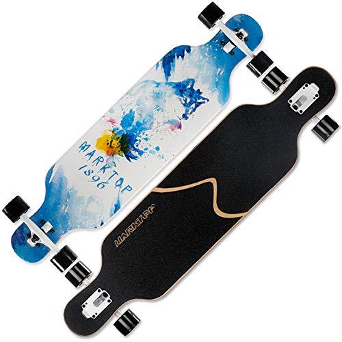 NENGGE Ahornholz Longboards, Profi Konkave Deckform mit Doppel-Kick Skateboard für Jugendliche Erwachsene Anfänger Mädchen Jungen Kinder,Wolf King