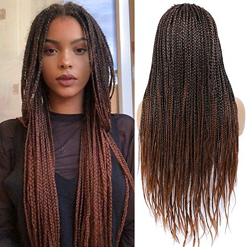 Rosebony Box Braided Wigs for Black Women 24' Long Braided Wig Fake Scalp Synthetic Heat Resistant Fiber Micro Braids Red Brown Color (T1b/30)