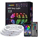 Tiras LED 15M, AOGUERBE Luces LED RGB con Remoto Control de 44 Botones & APP controlada, Tira de Luz de Cambio de Color de Música para la Habitación, Fiestas, Bares, TV, Cocina, 3 Rollos de 5M