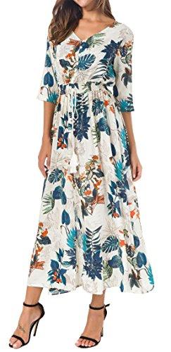 Kormei Damen Blumen Maxikleid Bohemien 3/4 Arm A-Linie Lang Kleider Sommerkleid Partykleid Blau&Orange S