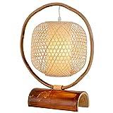 Blingstars Lámpara de mesa de alambre, hecha a mano, bambú, lámpara de mesa, E27, 1 lámpara de mesa Pastoral, tela de tejido, iluminación interior, lámpara de mesa, adecuada para Home Study Blingstars