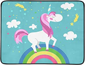 Cute Animal Unicorn Rainbow Stars Pattern Pattern Portable and Foldable Blanket Mat 60x78 Inch Handy Mat for Camping Picnic Beach Indoor Outdoor Travel