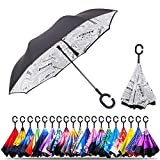 Original Deals Inverted Inside Out Umbrella   Double Layer Inverted UV Protection Unique Windproof Umbrella   Reverse Open Folding Umbrellas with C Hook for hanging on points (Newspaper)