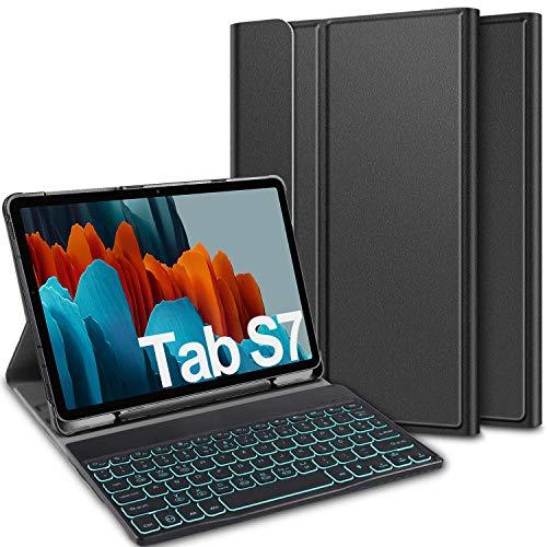 ELTD Tastatur Hülle für Samsung Galaxy Tab S7 (Deutsches QWERTZ), Hülle mit 7 Farben LED-Hintergrundbeleuchtung Kabellose Tastatur für Samsung Galaxy Tab S7 (SM-T870/875) 11 Zoll 2020, Coal