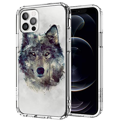 MOSNOVO Wolf Pattern Designed for iPhone 12 Case 6.1 Inch/Designed for iPhone 12 Pro Case 6.1 Inch,Clear Case with Design,TPU Bumper with Protective Hard Case Cover