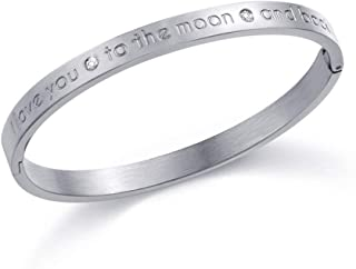 SEXY SPARKLES Sentiment Bracelet Titanium Steel Bangle Engraved I Love You to The Moon and Back