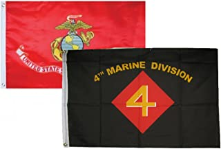 ALBATROS 2 ft x 3 ft 2x3 USMC Marines EGA with 4th Marine Division Flags Flag for Home and Parades, Official Party, All Weather Indoors Outdoors