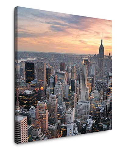 EAUZONE GmbH New York Skyline 60x60cm Wandbild auf Leinwand, Kunstdruck Moderne Bilder