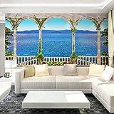 Msrahves fotomurales decorativos pared Vista al mar balcón arco póster Decorativos Murales Moderna Papel Pintado 3D Fotomural 3D Murales Papel Tapiz Pared de Fondo de TV Wallpaper