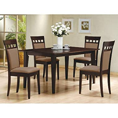 5 PC Espresso Brown 4 Person Table and Chairs Dining Dinette - Beige Chair 150235