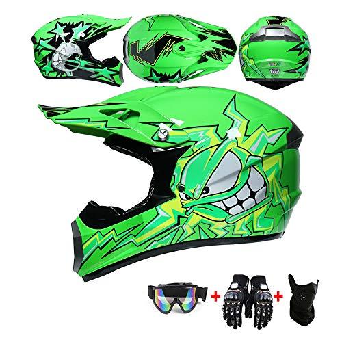 WRISCG Carretera Moto Casco Motocross Casco, Casco Motocross para Niños 4pcs Juego De Casco De Moto + Gafas + Guantes De Motocicleta + Mascarilla, Apto para Adultos y niños,Verde,S