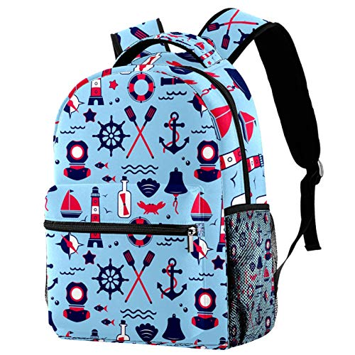 Abstract Sailing Nautical Marine Travel Icons Pattern Backpack for Teens School Book Bags Travel Casual Daypack