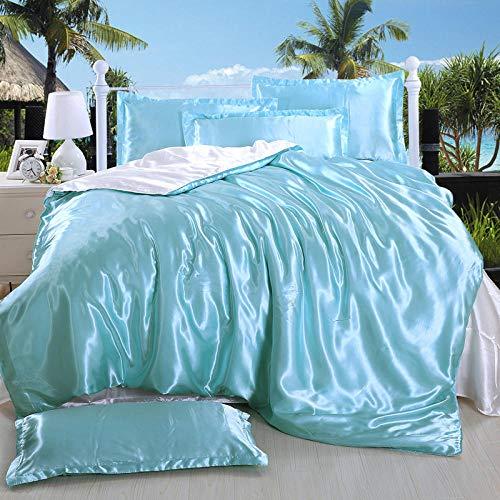 Bedding-LZ -Tipo Europeo de Color sólido Lavado de Agua Simulación Seda de Cuatro Piezas Tianyin Satin Cierre de Hielo Seda de Hielo Fresco de la Cama Doble-X_1,8 m de Cama (4 Piezas)