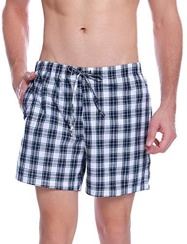 Hawiton Herren Schlafanzughose Pyjamahose Kurz Sommer Kariert Shorty Nachtwäsche Sleep Hose Pants aus Baumwolle Blau M