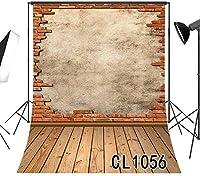 写真のための新しい古い壊れたレンガの壁の背景5x7ft素朴な木製の床の写真の背景スタジオの小道具ビニールカスタマイズされた1056