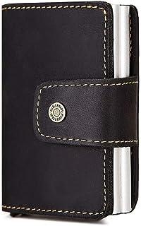 Men's Genuine Leather wallet with RFID blocking wallet Clip,credit card holder-auto pop-up card case,10×7×4cm (Color : Black)