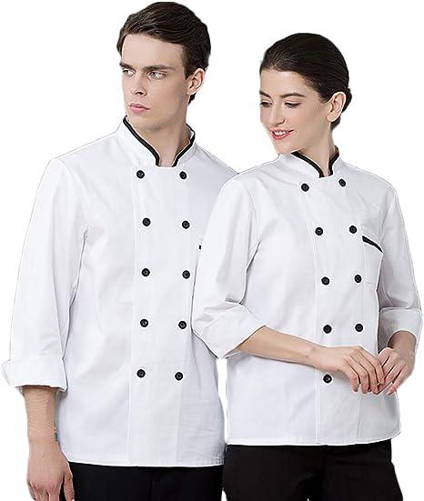 WYCDA Camisa de Cocinero Cocina Uniforme Manga Larga ...