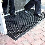 Grande tappetino d'entrata in gomma da esterni, tappetino antiscivolo drenante – 3 taglie disponibili, plastica, Black, 0.9m x 1.5m