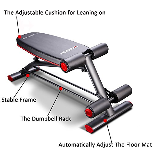 HARISON Compact Weight Bench with Dumbbel Rack Adjustable Flat Decline Workout Bench for Woman and Man