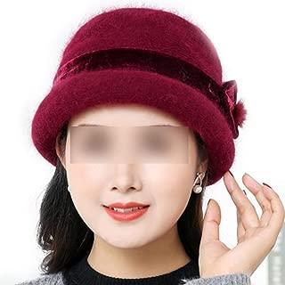 Women Ladies Winter Warm Cap 100% Rabbit Wool Warm Flower Floppy Hats for Bucket Fedoras Hats