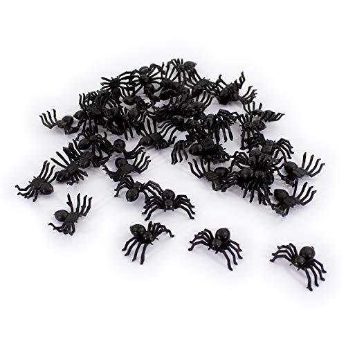 Oblique Unique® 50 kleine Spinnen aus Kunststoff für Halloween Fasching Karneval Streudeko Tisch Deko Schwarz