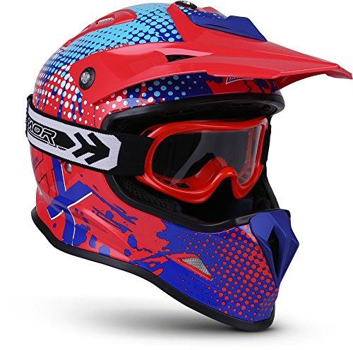 "SOXON® SKC-33 Set ""Fusion Red Blue"" · Kinder Cross-Helm · Motorrad-Helm MX Cross-Helm MTB BMX Cross-Bike Downhill Off-Road Sport · ECE 22.05 Schnellverschluss SlimShell Tasche XS (51-52cm)"