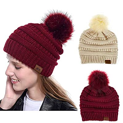 Amazon - Save 50%: Women Pompom Beanie 2 Pack-Knit Ski Cap Winter Chunky Baggy Hat With F…
