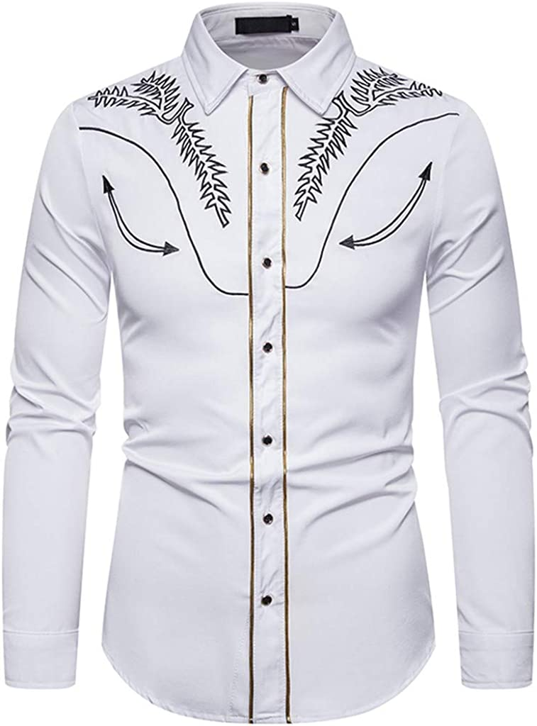 MODOQO Men's Shirts Casual Embroidered Printed Lapel Collar Button Down Shirt Tops