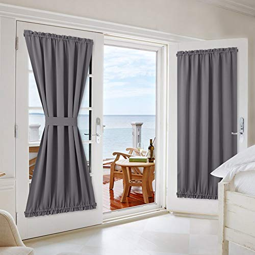 NICETOWN Grey Blackout French Door Curtains - Blackout Patio Door/French Door/Glass Door Curtain Panels - 2 Pieces W54 x L72 inches - Grey