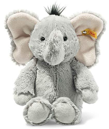 Steiff 064982 Original Plüschtier Ella Elefant, Soft Cuddly Friends Kuscheltier ca. 30 cm, Markenplüsch mit Knopf im Ohr, Schmusefreund für Babys von Geburt an, grau