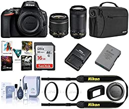 Nikon D5600 DSLR Camera Kit w/AFP DX 18-55mm f/3.5-5.6G VR & AFP DX 70-300/4.5-6.3G Lenses - Bundle with Camera Case, 16GB SDHC Card, Cleaning Kit, 55mm UV Filter, PC Software Package,