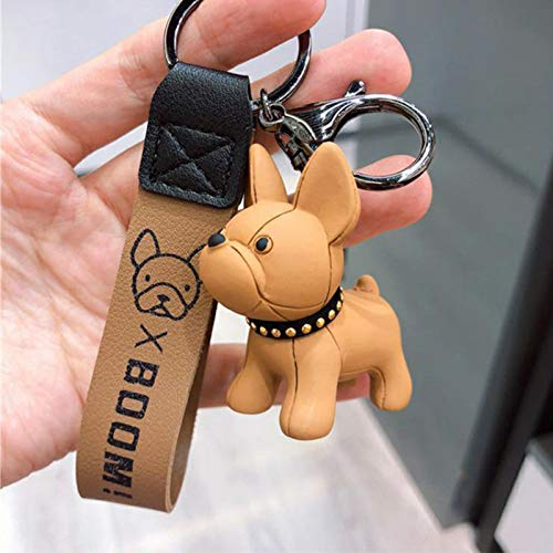 French Bulldog Keychain Fashion Punk Pu Leather Strap Dog Keychains for Women Bag Pendant Jewelry Trinket Men's Car Key