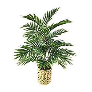 """Silk Flower Arrangements Artificial Palm Tree 24"""" Faux Plants Décor Indoor Outdoor,Fake Plastic Areca Palm Plants in a Woven Pot for Home and Office -1 Pack"""