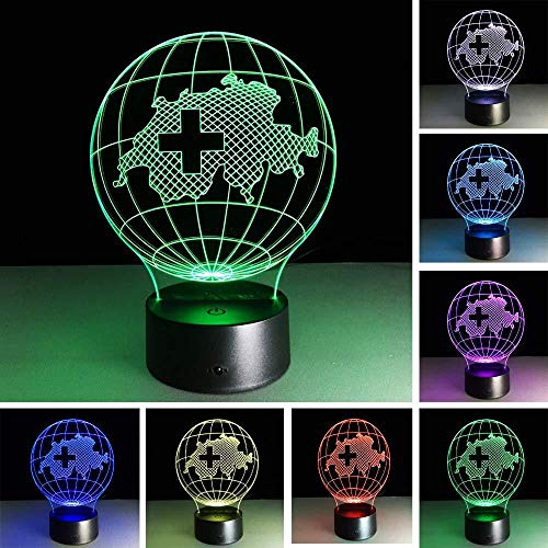Gaming Accessories for Desk Kids Study Table 3D Night Light 3D Lamp 7 Color Gradient Switzerland Map RGB Led Night Kids Led Illusion Table Lampara Baby Nightlight Child Bedroom Decor with Remote Cont
