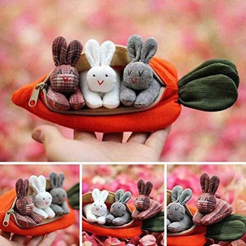 3 conejitos en Monedero de Zanahoria, Regalo de Pascua para niños, Lindo Conejo para decoración de Escritorio, Lindo Conejo para Mascotas, decoración para el hogar de Pascua