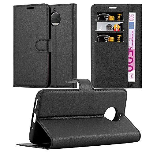 Cadorabo Hülle für Motorola Moto G5S Plus in Phantom SCHWARZ - Handyhülle mit Magnetverschluss, Standfunktion & Kartenfach - Hülle Cover Schutzhülle Etui Tasche Book Klapp Style
