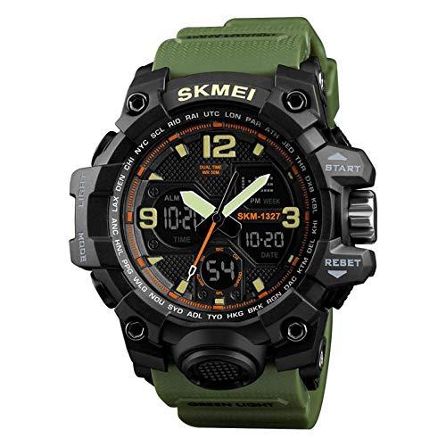 SKMEI Analogue - Digital Boys' Watch (Black Dial Green Colored Strap)