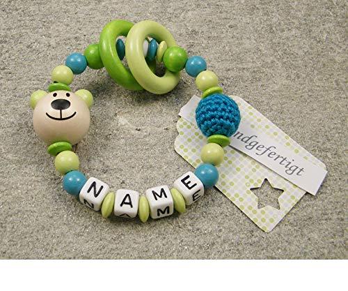 Baby Greifling Beißring geschlossen mit Namen - individuelles Holz Lernspielzeug als Geschenk zur Geburt Taufe - Mädchen Jungen Motiv Bär in lemon grün
