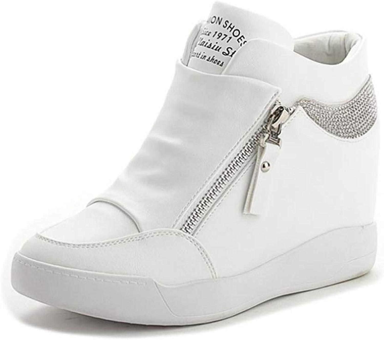Fashion shoesbox Womens Fashion Rhinestone Wedge Sneakers High Top for Women Side Zipper Heel Breathable Anti-Slip Rubber Sole Casual shoes
