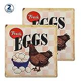 dojune-2 Pack Vintage Tin Sign Decor-Farm Fresh Eggs Chicken Wall Decor for Kitchen Home Garage Bar Pub Outdoor Retro Art Sign