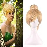 30cm kurze blonde Cosplay Perücke Fairy Tinker Bell Vollhaar Perücken für Frauen Prinzessin Tinkerbell Erwachsenengröße Synthetisches Haar + Perücke Cap
