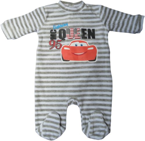 Disney Cars Pyjama/Schlafanzug/Strampler - Baby Lightning Mc Queen Race to The USA - Grau/Weiß gestreift