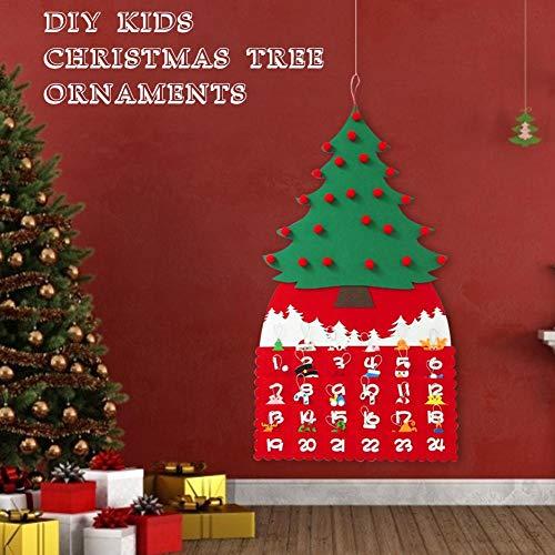 Pepional Fühlte Mich Weihnachtsbaum Kalender Wandaufkleber, DIY Weihnachten Tür Hängen - Weihnachtshandschuhe, Pony, Weihnachtsmütze, Haken, Schneemann, Geschenkbox Weihnachten heathly