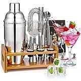 HOTOWON Cocktail Set, 15 Teiliges Edelstahl Cocktail Shaker Barkeeper Kit Bar Zubehör mit Bambus Ständer, Rezeptbuch, Messbecher und Bar Löffel, 750 ml Cocktail Geschenk Set für Zuhause oder die Bar