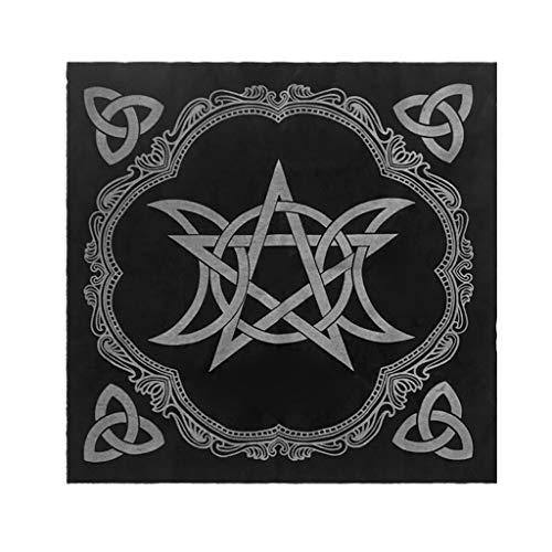 Tarot-Tischdecke, 49 x 49 cm, 3-fach Mond, Pentagramm, heidnischer Altar, Tarot-Tücher, Flanell merhfarbig